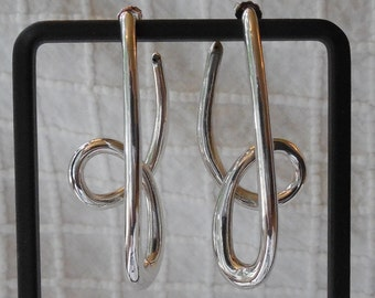 Signed Sterling Silver CARLA Abstract Squiggle Earrings