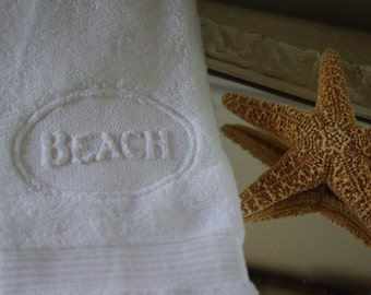 Embossed Embroidered Beach Bath Hand Towel - 16x30 - Beach Decor - Beach House - Nautical Decor