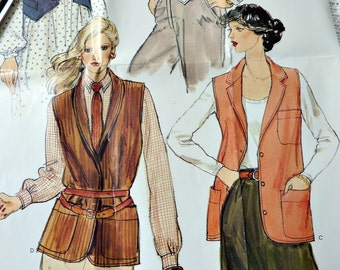 1970's Vogue Sewing Pattern 7297 Womens Vest Size 10 Vintage