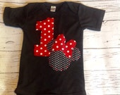 Minnie mouse birthday shirt, 1,one, three, girl boy t shirt,