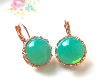 Jade Green Opal Round  Copper Crown Drop Dangle Earrings - Wedding, Bridal, Bride, Bridesmaid, Tropical, Beach