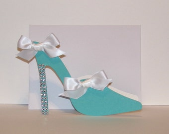 5 Blue Mule High Heel Shoe Blank Card with White Bows