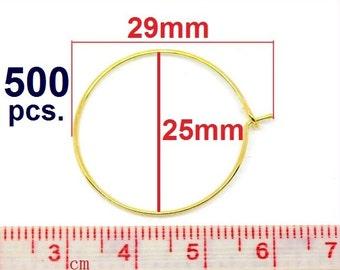 500 Gold Plated Wine Charm/Earwire Hoop Rings - 25mm - 1 inch- 21Gauge