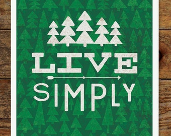 8x10 Happy Camper, Live Simply, Art Print, Woods, Camping, Forest, Nature, Vintage, Retro