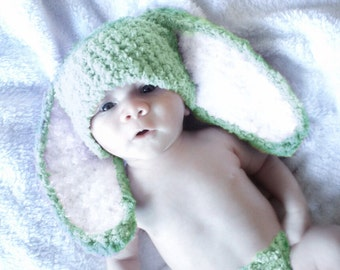 12 to 24m Lime Toddler Bunny Hat, Green White Unisex Baby Hat, Baby Bunny Beanie, Crochet Bunny Toddler Hat, Flopsy Bunny Ears Prop
