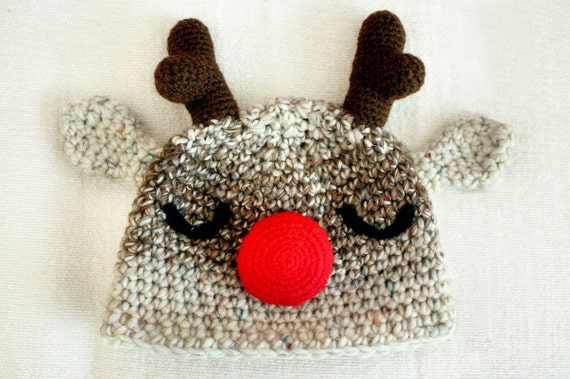 6 to 12m Christmas Baby Reindeer Hat, Red Nose Rudolph Christmas Hat, Baby Hat Christmas Reindeer Costume, Photograpy Prop Gifts Christmas