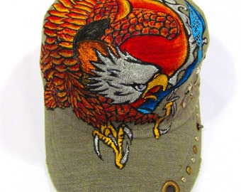 Hand Painted Flying Eagle Tattoo Military Khaki Vintage Hat with cool stud