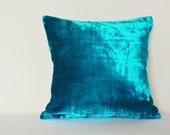 Turquoise Velvet Pillow , Turq Velvet Cushion Cover , Decor Pillow , Blue Velvet Throw Pillow , Housewares , Velvet Cushion