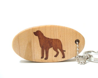 Irish Wolfhound Key Chain Wood Dog Breed Key Chain Wolfhound Key Ring Dog Key Fob Pet Key Chain African Mahogany