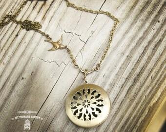 Victorian Brass Locket Necklace