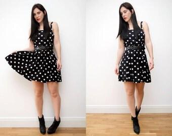Vintage Polka Dot Spot Grunge Sun Strap Dress Strappy Dress Mini Dress
