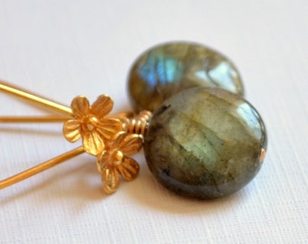 Labradorite Earrings, Gold Vermeil, Floral Earwires, Flower, Smooth Coin Gemstone, Wire Wrapped Stone Jewelry, Free Shipping