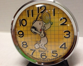 Vintage Equity Snoopy Tennis Alarm Clock 1958 Not Working