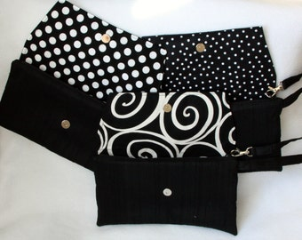 Black Envelope Clutch Silk Dupioni with Black and White Lining