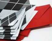 Black and Grey Argyle Mini Cards Set of 8