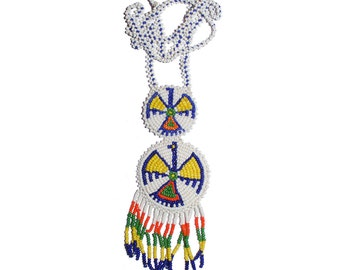 Large Vintage Native American Beaded Necklace