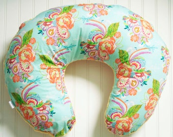 SALE // Feathered Floral Nursing Pillow Cover