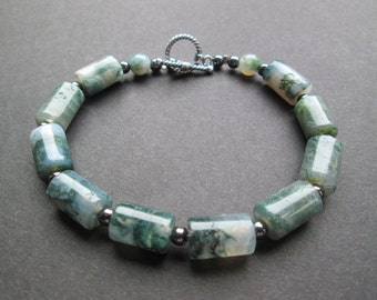 "Moss agate and hematite bracelet- 8.25"""