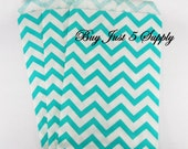 100 Bulk Turquoise Green and White Paper Gift Bags - Just 5 Bucks - For Candies, Soaps, Jewelry, Pendants, Shower Favors, Wedding Favors