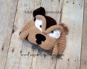 Bulldog Beanie, American Bulldog hat, English Bulldog Hat, Toddler Hat, Toddler Dog Hat, Toddler Bulldog Beanie, Puppy Dog