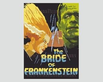 Bride of Frankenstein Cross Stitch, Frankenstein, Monster Cross Stitch, Halloween Cross Stitch, Bride of Frankenstein NewYorkNeedleworks