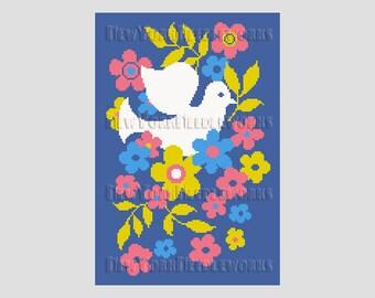 Retro Dove and Flowers Cross Stitch, Dove Cross Stitch, Pillow Cross Stitch, Cross Stitch Silhouette, Modern Cross Stitch NewYorkNeedleworks