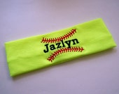 Softball Stretch Headband in Neon Yellow PERSONALIZED with your name