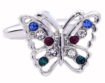 Crystal Decorated Butterfly Cufflinks