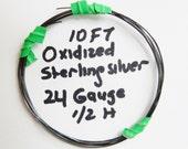 24 Gauge Sterling silver, oxidized . 1/2 Hard round wire