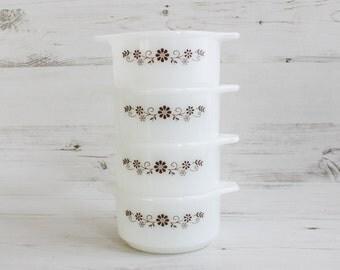 Vintage Pyrex Dish - Bowl Dynaware Pyrorey Cooking Kitchenware Milk Glass Brown Flower White