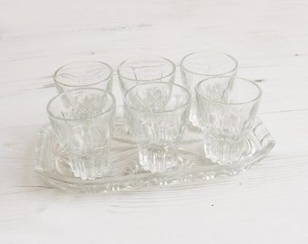 Vintage clear shot glasses and serving tray -  Glass Collectible Decor Barware Drinking Serving plate