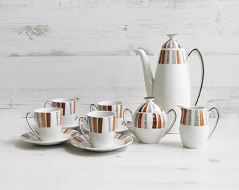 Vintage Coffee Pot Set - Burleigh ware burgess and leigh Costa Brava coffee cup saucer creamer sugar pot orange