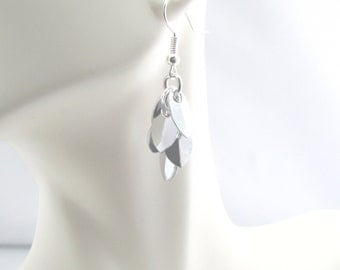 Cascade Chainmaille Earrings - Silver Mirror