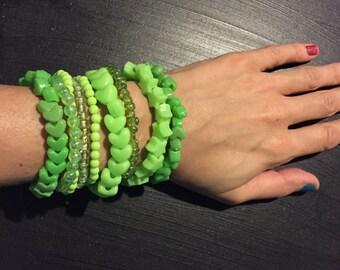 9 Bracelet LIGHT GREEN Color Bundle