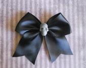 Pastel Goth black Hair bow with grey skull punk lolita