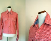 FREE USA SHIPPING / Vintage Shirt/ 60s Gingham Button Up/ Saks Fifth Avenue/ Large