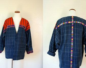 Vintage Jacket/ 80s Indigo Handmade Embroidered Jacket / Large