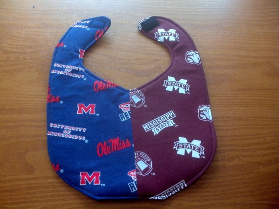 Mississippi State and Ole Miss House Divided Handmade Baby Bib