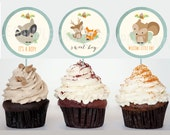 WOODLAND Baby Shower Decorations Cupcake Toppers / Printable File Baby Boy / Fox Baby Shower  / Deer Raccoon Circles Instant download