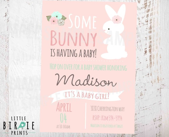 bunny baby shower invitation girl baby shower invitation baby shower