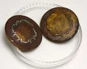 Vintage Victorian Ornate Brass Patinaed Round Button Set, 27mm, 2pc/set