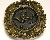 Vintage Ornate Victorian Tethered Bird Brass Square Button, 55mm, 1pc