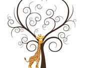 Baby Shower Guest Book - Giraffe Fingerprint Guestbook - Giraffe Birthday Party - Printable JPEG - Fingerprint Tree-Custom color, size, text