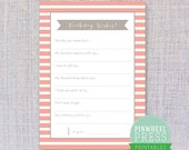Print Your Own Birthday Wish Cards - Pink & Grey - Stripes - Baby Book Keepsake - Party Game