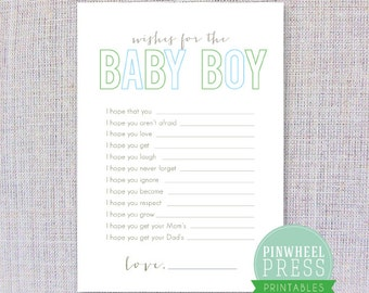 Print Your Own Baby Wish Cards - Baby Boy - Blue & Green - PDF - Baby Book Keepsake - Baby Shower Game