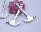 Alloy hammer charm - 10 antique silver Hammer charm pendants setting / necklace pendant 25x50mm