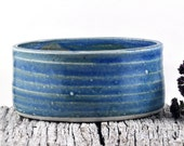 Ceramic Bowl Oval Speckle Blue Stoneware Unique Handmade Pottery Home Decor