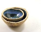 Small Nesting Bowls - Ceramic Wood Grain Pattern