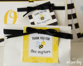 Bee gender reveal baby shower - honey bee - favor tags - Thank you tags - instant download Printable - DIY Party Favor// BEE-08