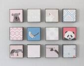 nursery wall art- twelve set of 5x5 art blocks- kids room decor- modern wall art for kids geometric decor- redtilestudio
